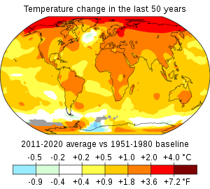 The Global map shows sea temperature rises of 0.5 to 1 degree Celsius; land temperature rises of 1 to 2 degree Celsius; and Arctic temperature rises of up to 4 degrees Celsius.